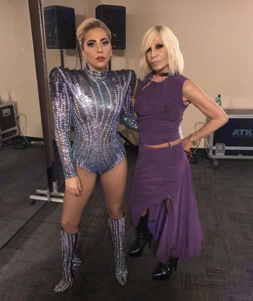 Lady Gaga and Donatella Versace at the Super Bowl 2017 | Source: Instagram.com/donatella_versace