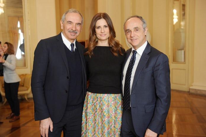 President of the Italian Trade Association Michele Scannavini, Livia Firth and Carlo Capasa | Source: Courtesy