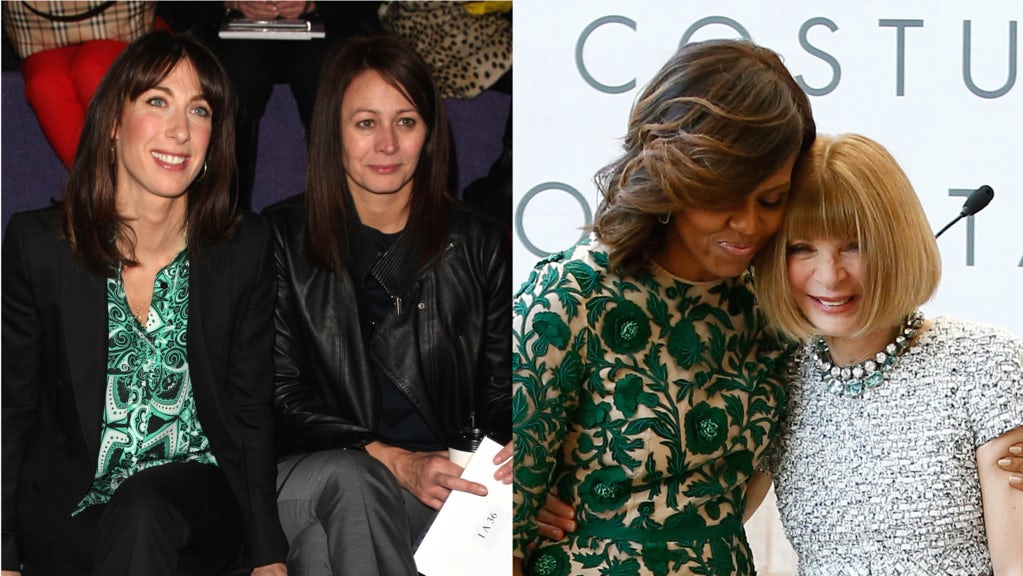 Samantha Cameron with BFC chief executive Caroline Rush in 2012 (left) and Michelle Obama with American Vogue editor-in-chief Anna Wintour in 2014 (right) | Source: Shutterstock