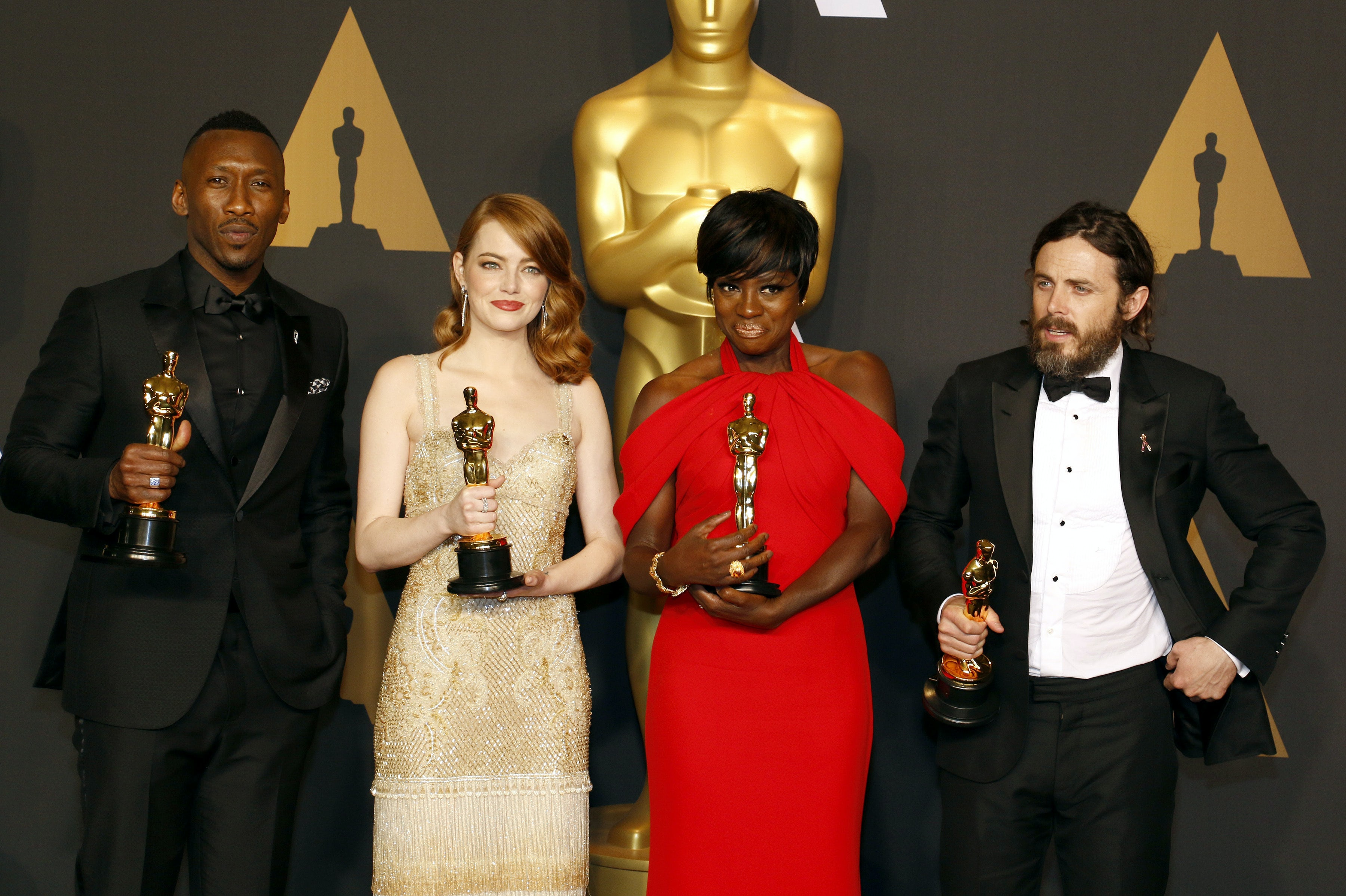 Oscar winners Mahershala Ali, Emma Stone, Viola Davis and Casey Affleck at the 89th Annual Academy Awards  | Source: Shutterstock