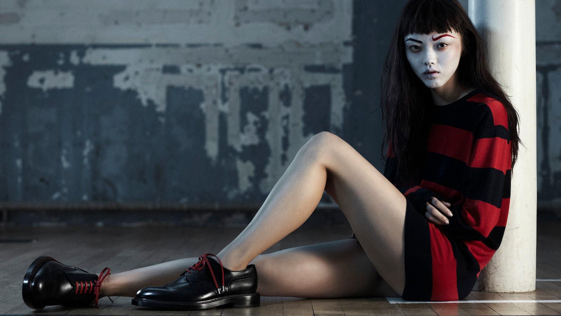 Styling by Kanako B. Koga, photography by Rene Habermacher featuring Rila Fukushima | Source: Vogue Uomo