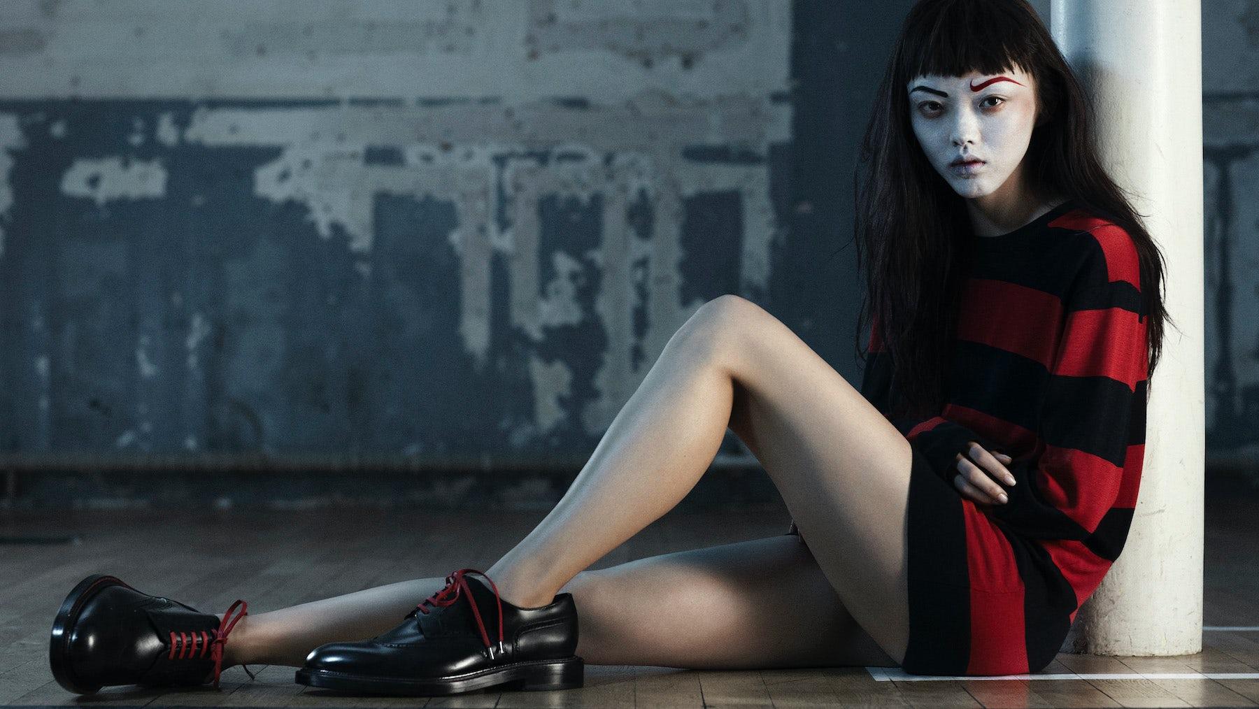 Styling by Kanako B. Koga, photography by Rene Habermacher featuring Rila Fukushima   Source: Vogue Uomo