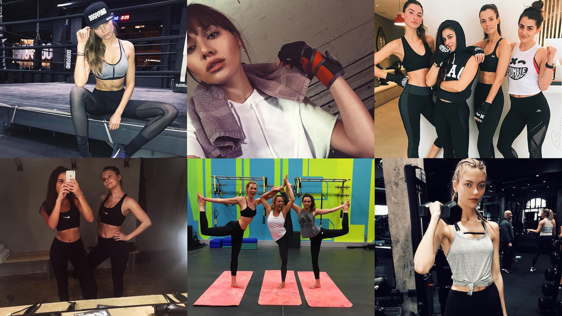 Clockwise, from left: Instagram/@josephineskriver, @natalieoffduty, @rumble_boxing, @marthahunt, @karliekloss, @georgiadaintree