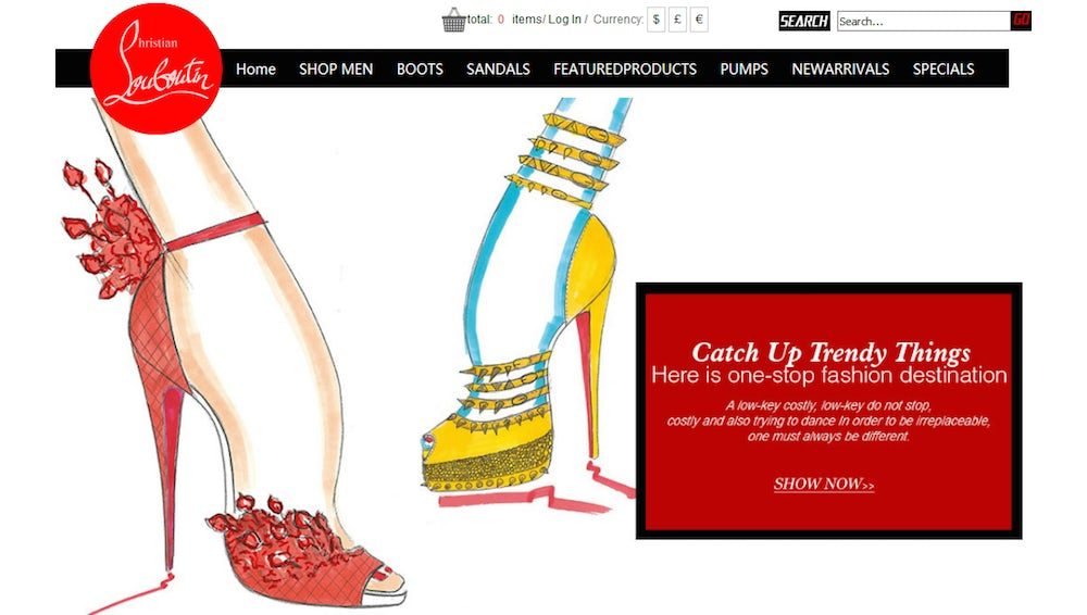 A fake Christian Louboutin website selling counterfeit goods | Source: Courtesy