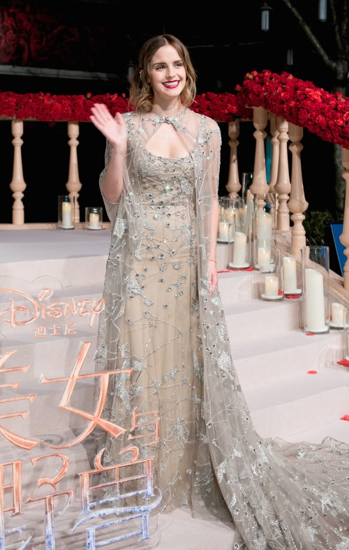 """Emma Watson wearing Elie Saab at a premiere of """"Beauty and the Beast."""" 