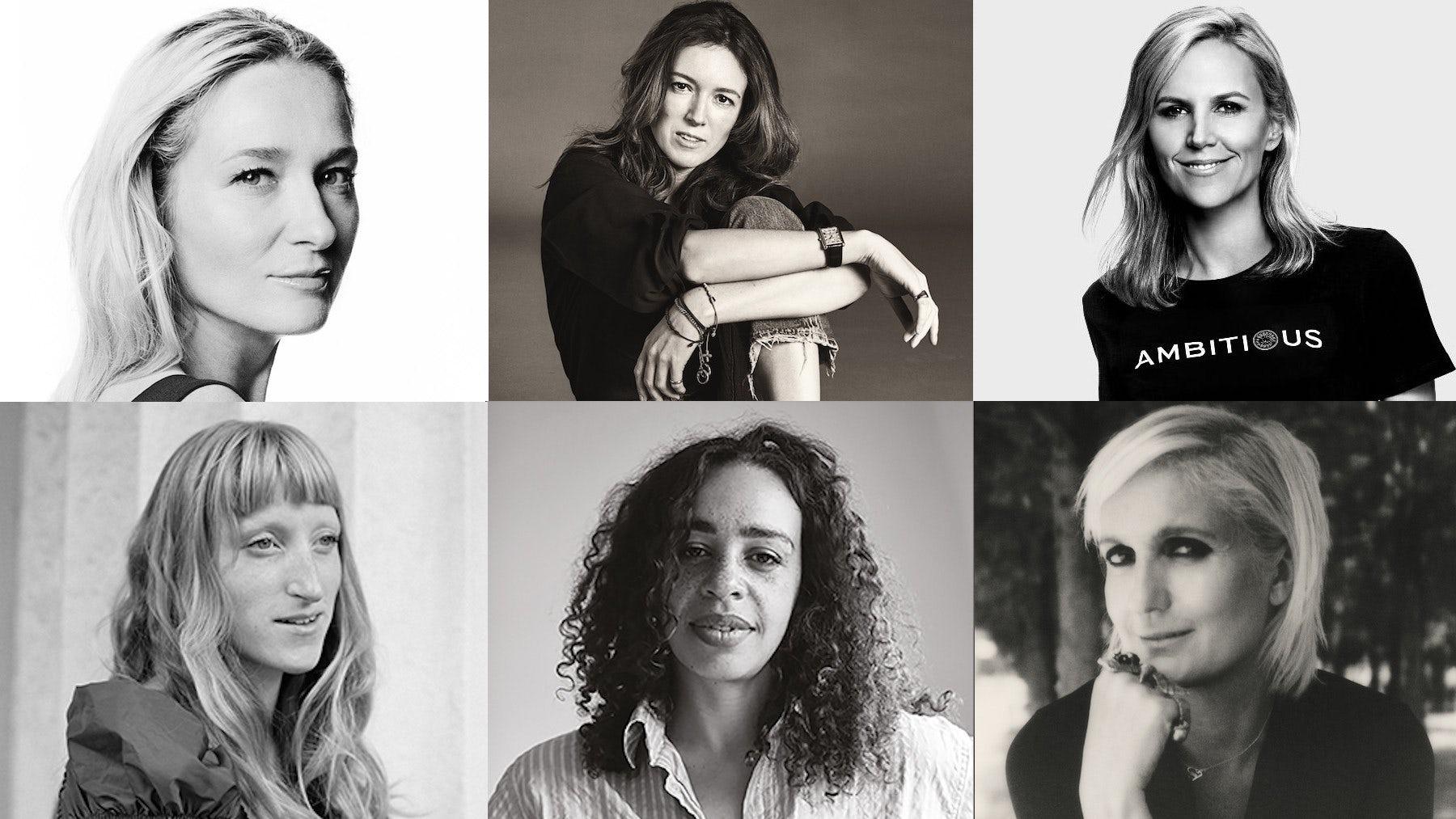 Clockwise from top left: Julie de Libran, Clare Waight Keller, Tory Burch, Maria Grazia Chiuri, Martine Rose, Molly Goddard