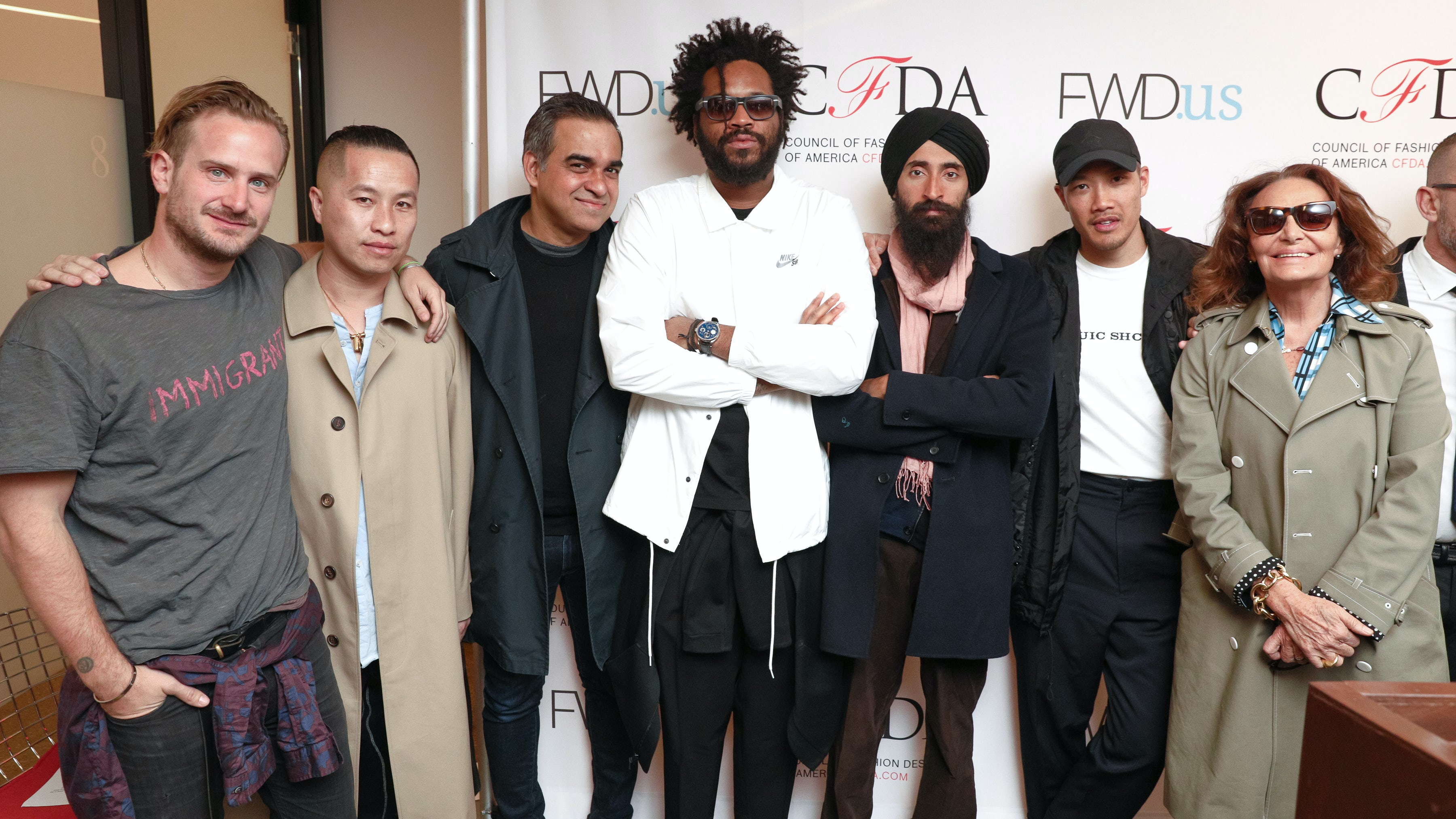 Robert Geller, Phillip Lim, Bibhu Mohapatra, Maxwell Osborne, Waris Ahluwalia, Dao-Yi Chow and Diane von Furstenberg at the CFDA Fwd.Us press conference. | Source: Matteo Prandoni/BFA.com