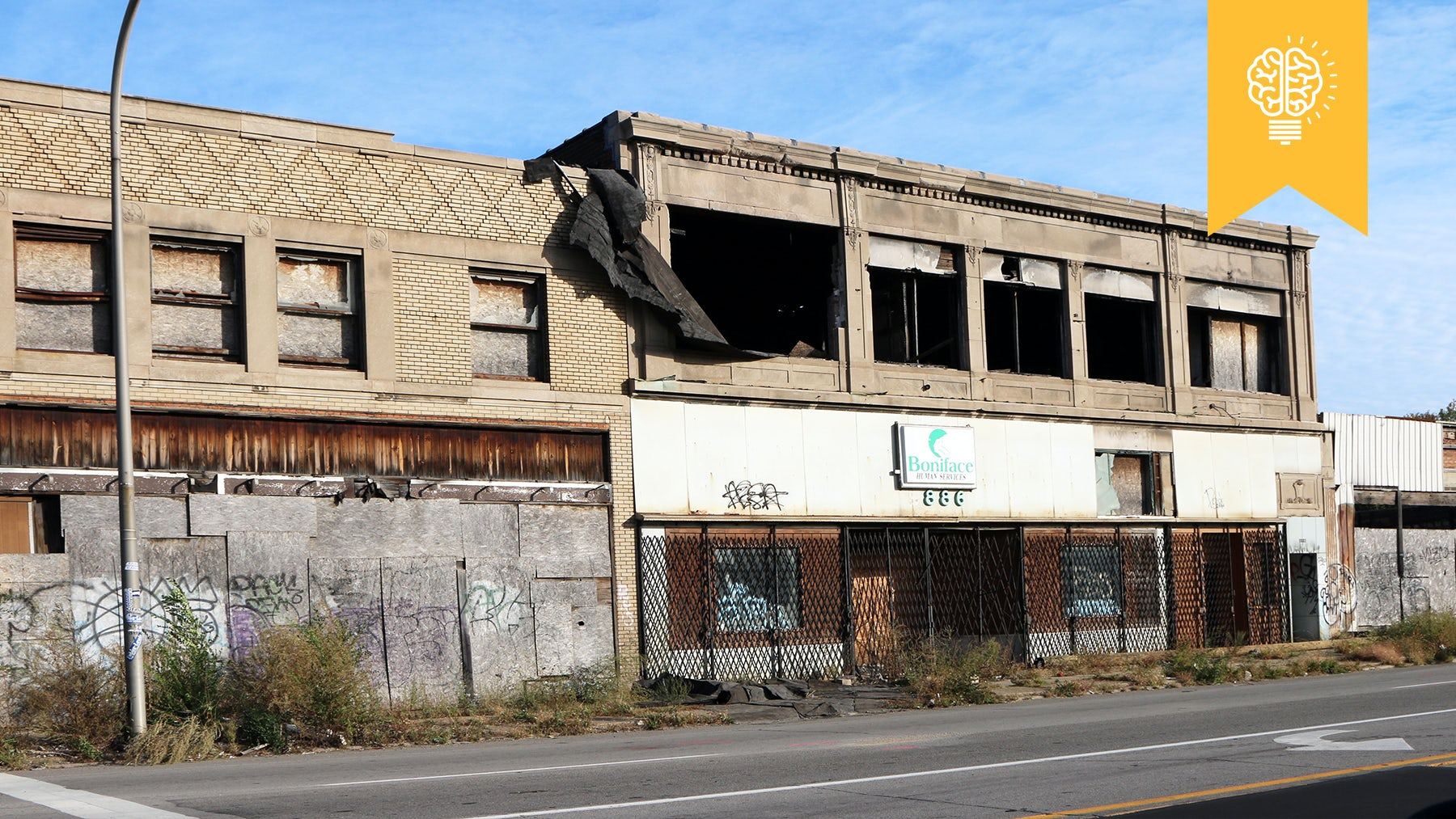 Deserted commercial buildings along one of Detroit's major streets | Source: Shutterstock