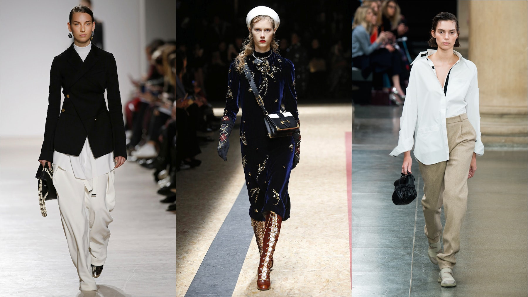 (R-L) Proenza Schouler Autumn/Winter 2016, Prada Autumn/Winter 2016, Christopher Kane Autumn/Winter 2017. All three brands made limited items from their collections available to purchase immediately. | Source: InDigital.tv