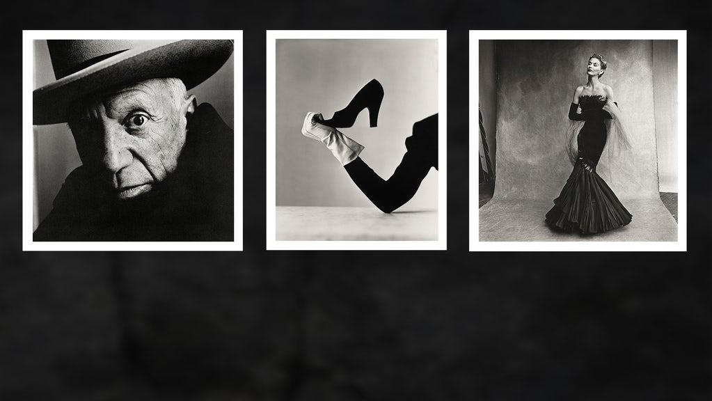 From left: Pablo Picasso at La Californie, Cannes, 1957; Glove and Shoe, New York, 1947; Rochas Mermaid Dress (Lisa Fonssagrives-Penn), Paris, 1950 | Source: © Condé Nast, Irving Penn