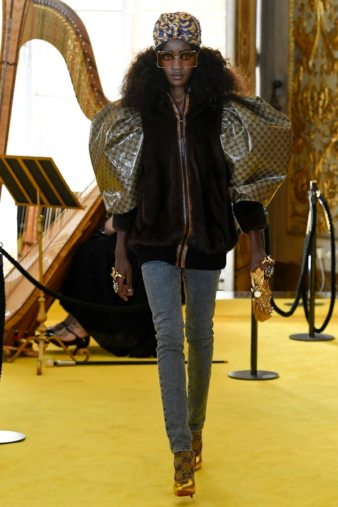 A look from the Gucci Cruise 2018 that references a creation by Daniel Day, aka Dapper Dan   Source: Indigital