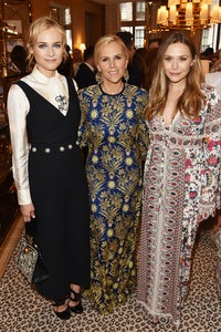 Tory Burch with Diane Kruger and Elizabeth Olsen at the opening of her Regent Street store on Monday   Photo: Dave Benett/Getty Images for Tory Burch