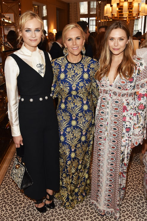914e1b57c1e Tory Burch with Diane Kruger and Elizabeth Olsen at the opening of her  Regent Street store