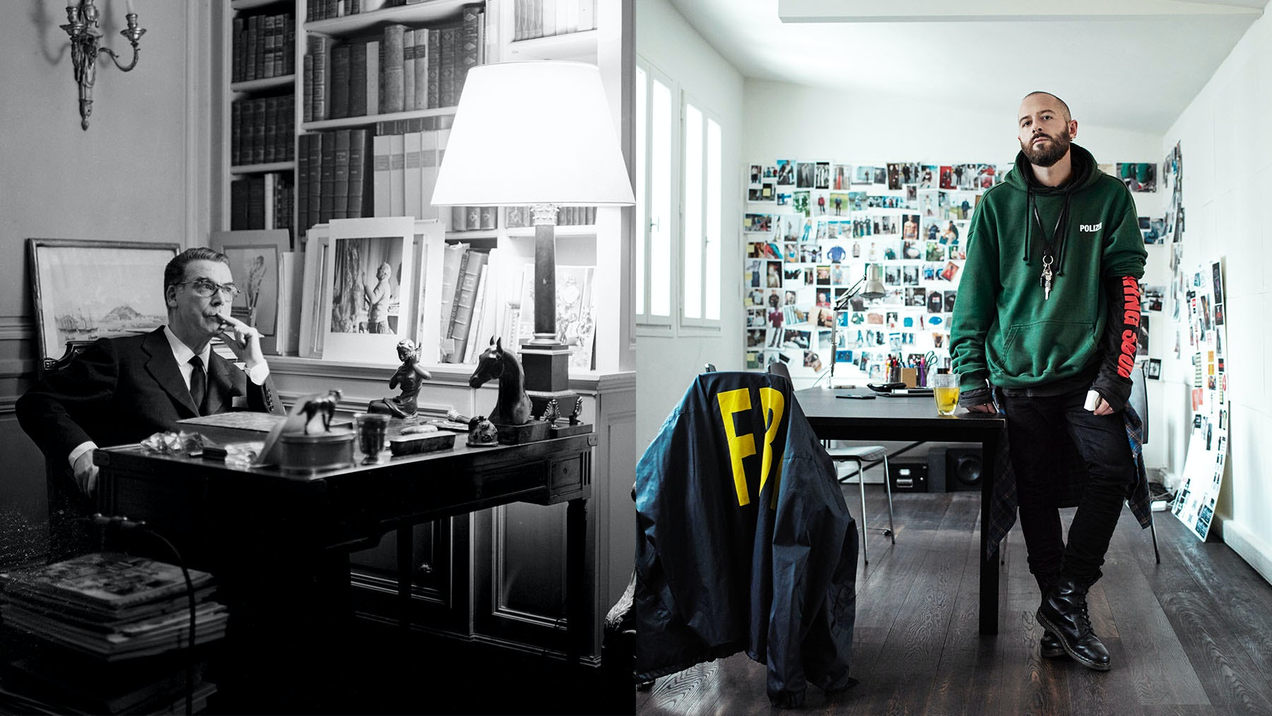Left: Cristóbal Balenciaga in his studio at Avenue Marceau in Paris, photographed by Cecil Beaton in the late 1950s. Right: Willy Vanderperre for BoF in 2016. | Source: Courtesy