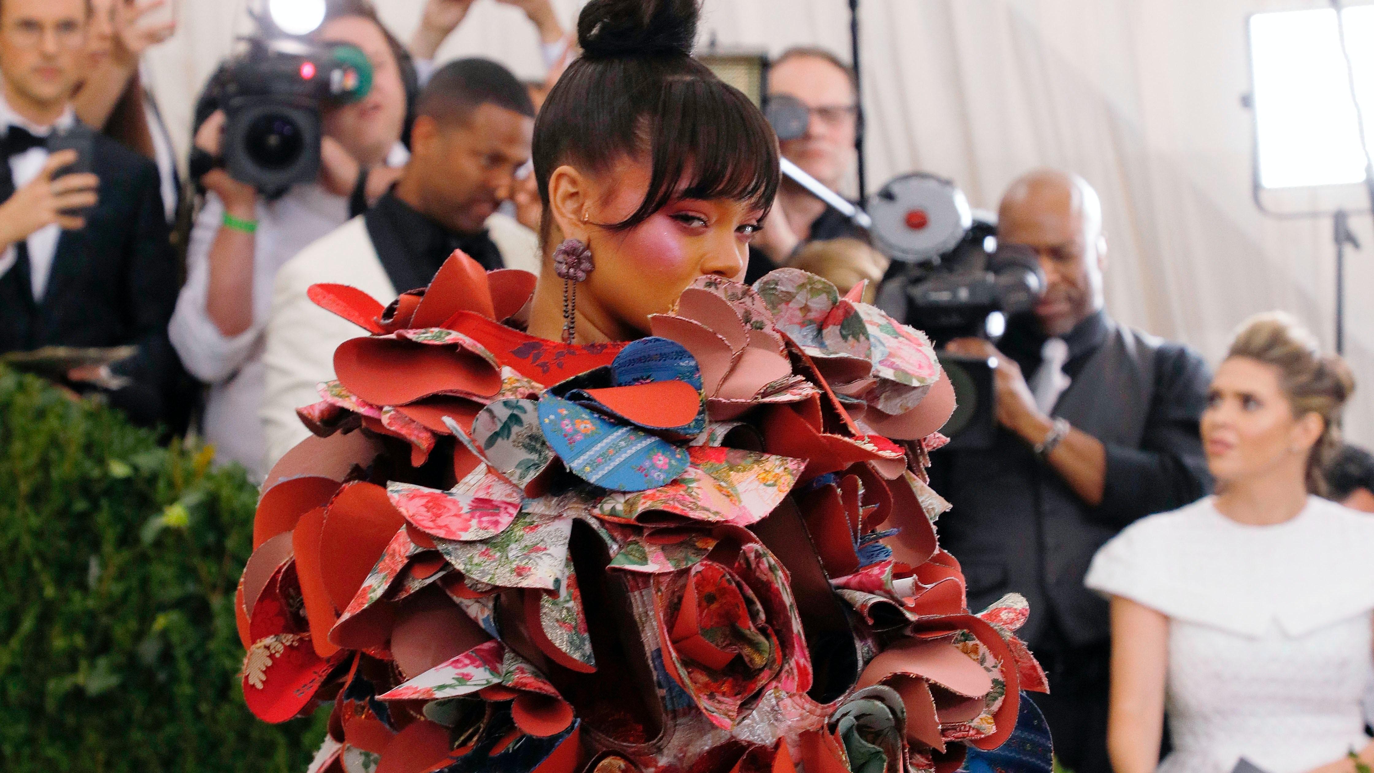 Rihanna at the Met Gala in Comme des Garçons   Source: Taylor Hill/FilmMagic