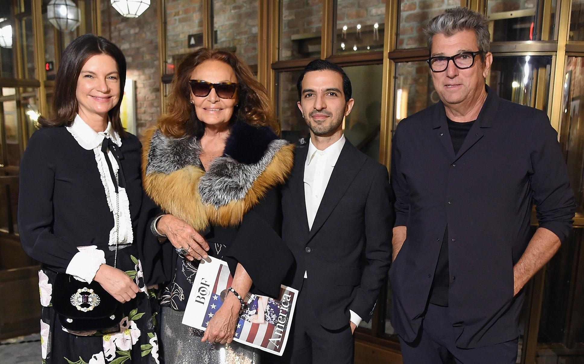 Natalie Massenet, Diane von Furstenberg, Imran Amed, and Andrew Rosen | Source: Michael Loccisano/Getty Images