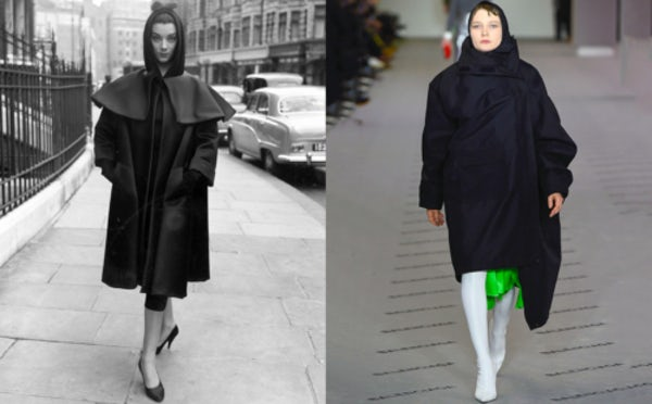 40495ebb13f Left: A 1955 Balenciaga look bears a striking resemblance to contemporary  streetwear. Right: Lotta Volkova modelling a draped coat and hood in A/W  '17 ...
