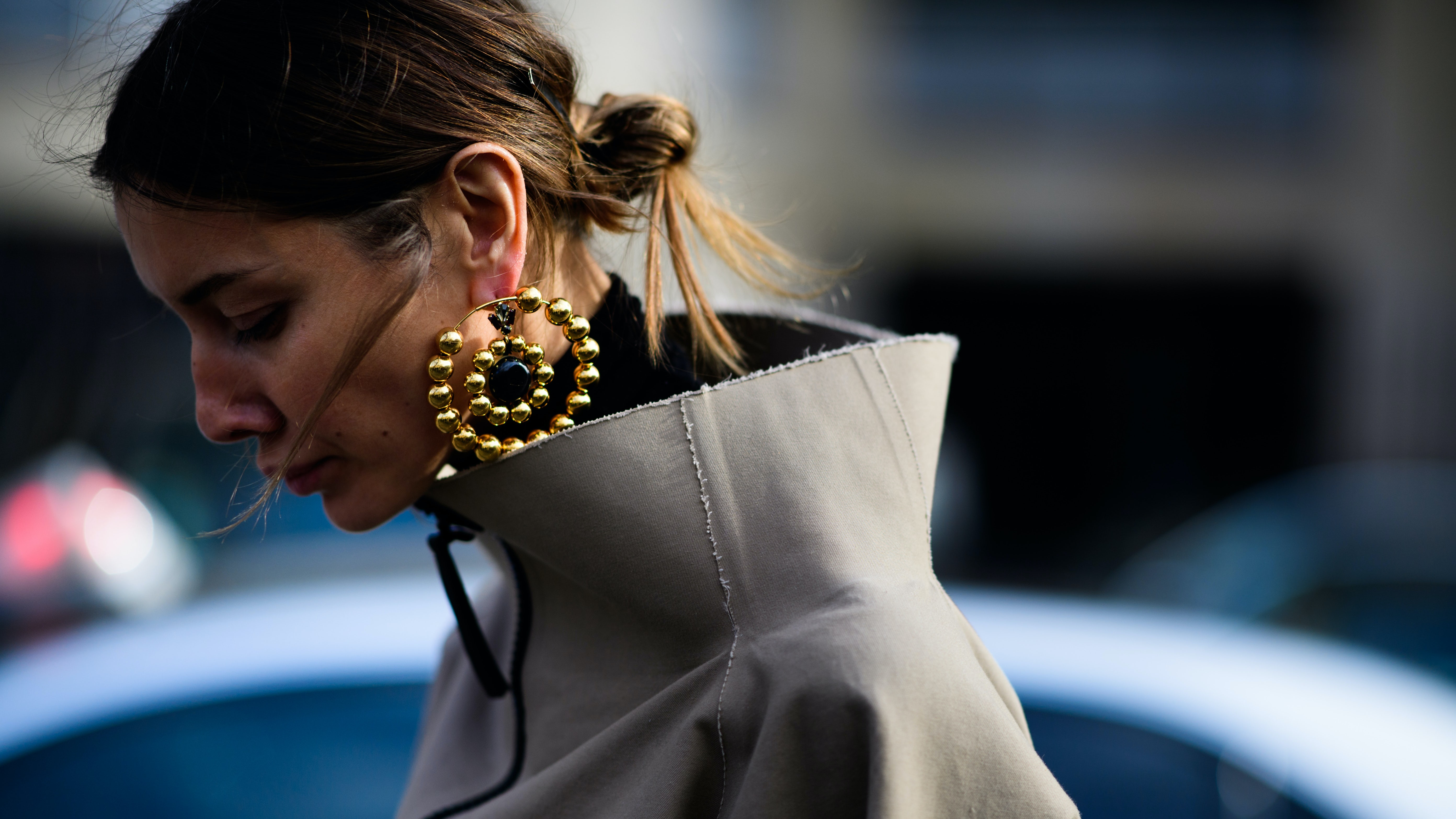 Julie Pelipas in statement earrings | Photo: Adam Katz Sinding