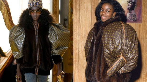 Gucci Cruise 2018 (left, InDigital.tv) and Olympic gold and silver medalist Diane Dixon, in Dapper Dan, 1988 (right, DapperDanOfHarlem.com)
