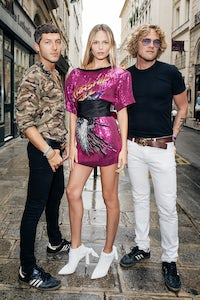 Natasha Poly in Dundas, with Ev Bousis and Peter Dundas | Photo: German Larkin