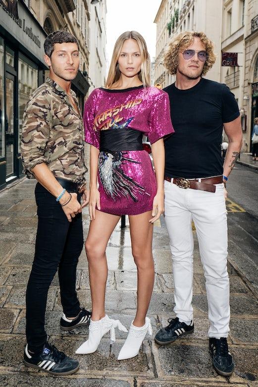 Natasha Poly in Dundas, with Ev Bousis and Peter Dundas | Photo: German Larkin