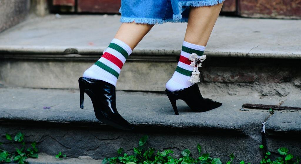 A pair of Gucci socks ($455) worn by Anouki Areshidze   Photo: Adam Katz Sinding