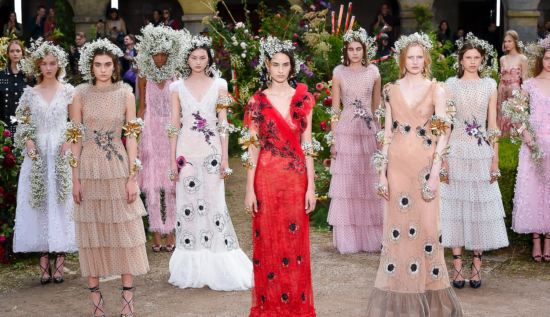 Rodarte's Spring/Summer 2018 collection, with floral accessories designed by LA-based florist Joseph Free | Source: Courtesy