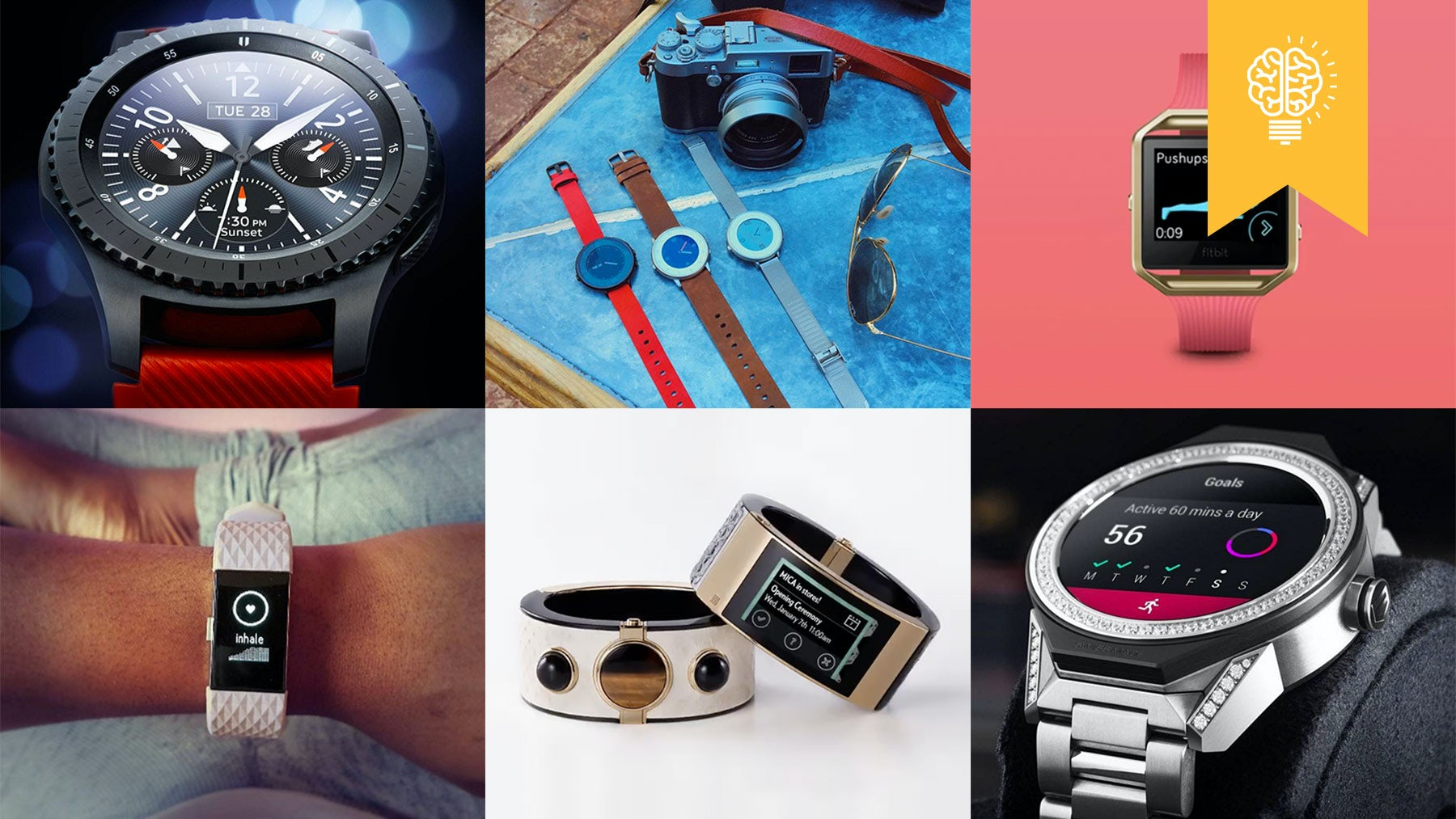 Source: (clockwise from top left) @samsungmobile, @getpebble, @fitbit, @tagheuer_russia, @openingceremony, @fitbit.