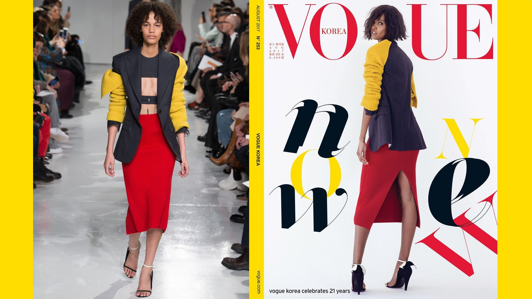 Left: A look from Calvin Klein's A/W'17 ready-to-wear collection. Right: A Vogue Korea editorial featuring the full look. Source: Indigital.tv