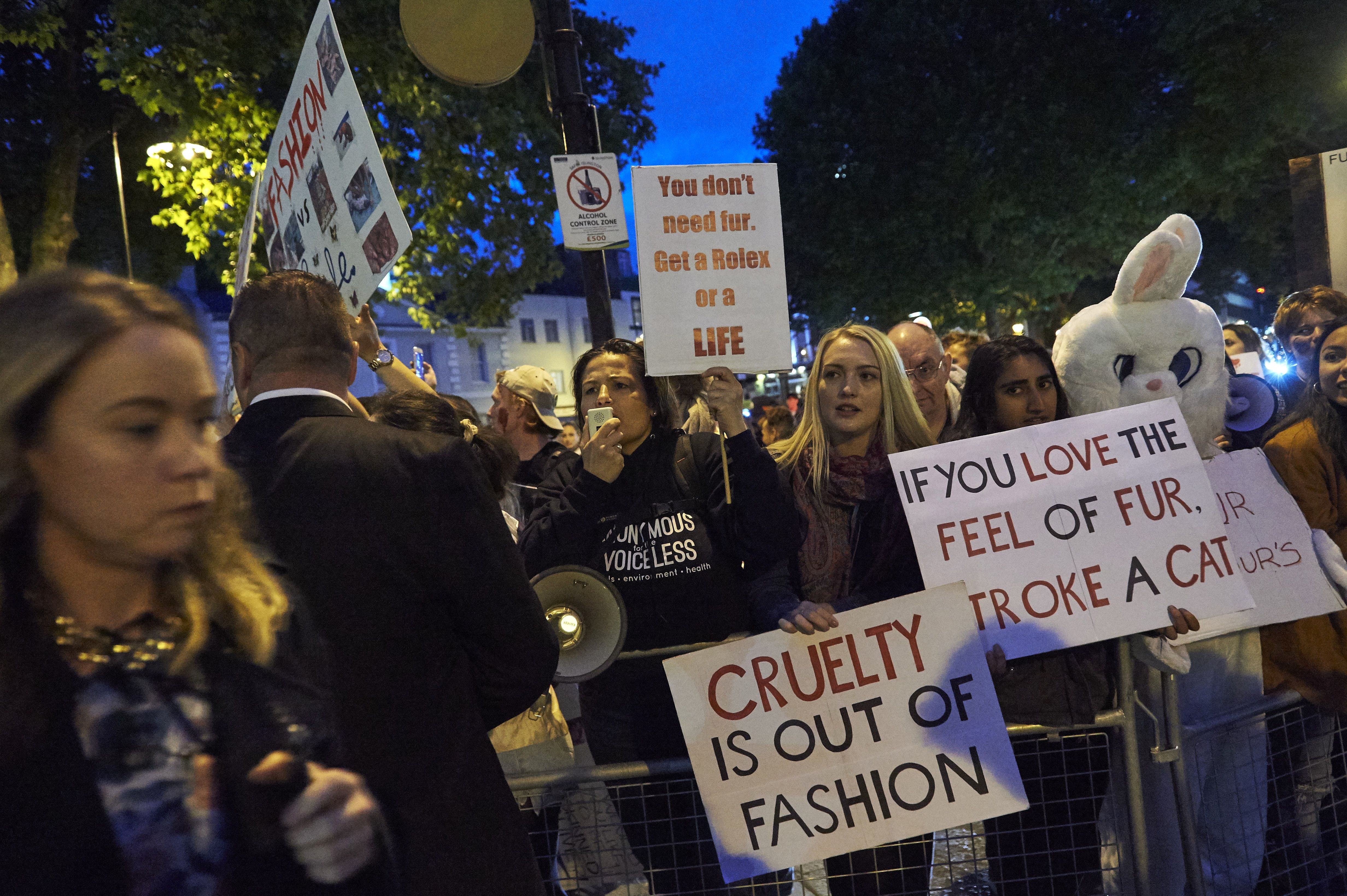 Animal welfare protestors demonstrate outside the Burberry show at London Fashion Week | Source: Getty