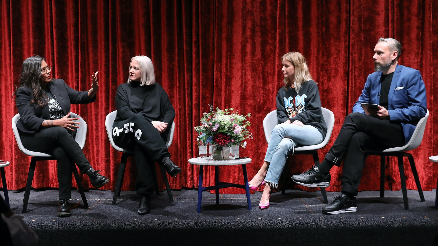 Leila Fataar, Katie White, Holli Rogers in discussion with Nick Blunden, chief commercial officer at BoF, at the 'Indside the Industry' panel discussion at The Barbican. Source: Courtesy