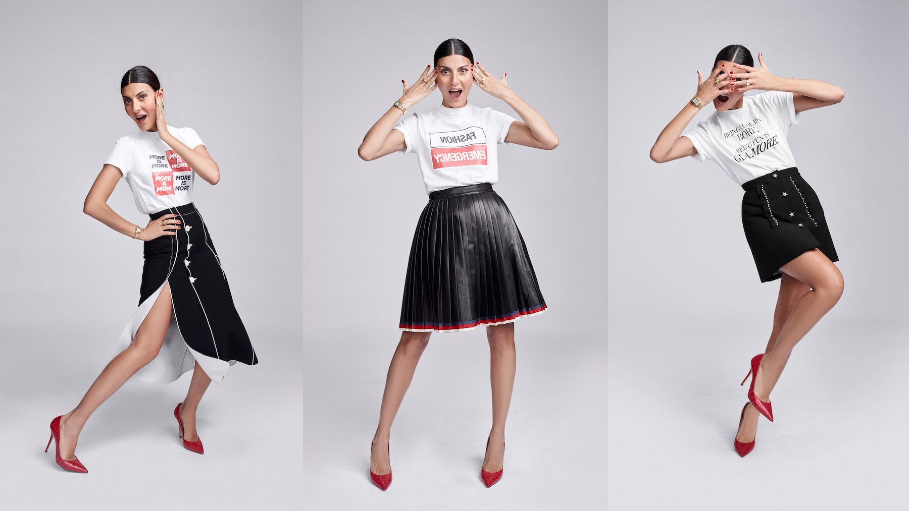 Giovanna Battaglia Engelbert in t-shirts created with Bergdorf Goodman | Photos: Ed Singleton
