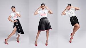 Giovanna Battaglia Engelbert in t-shirts created with Bergdorf Goodman | Photos: Ed Singleton