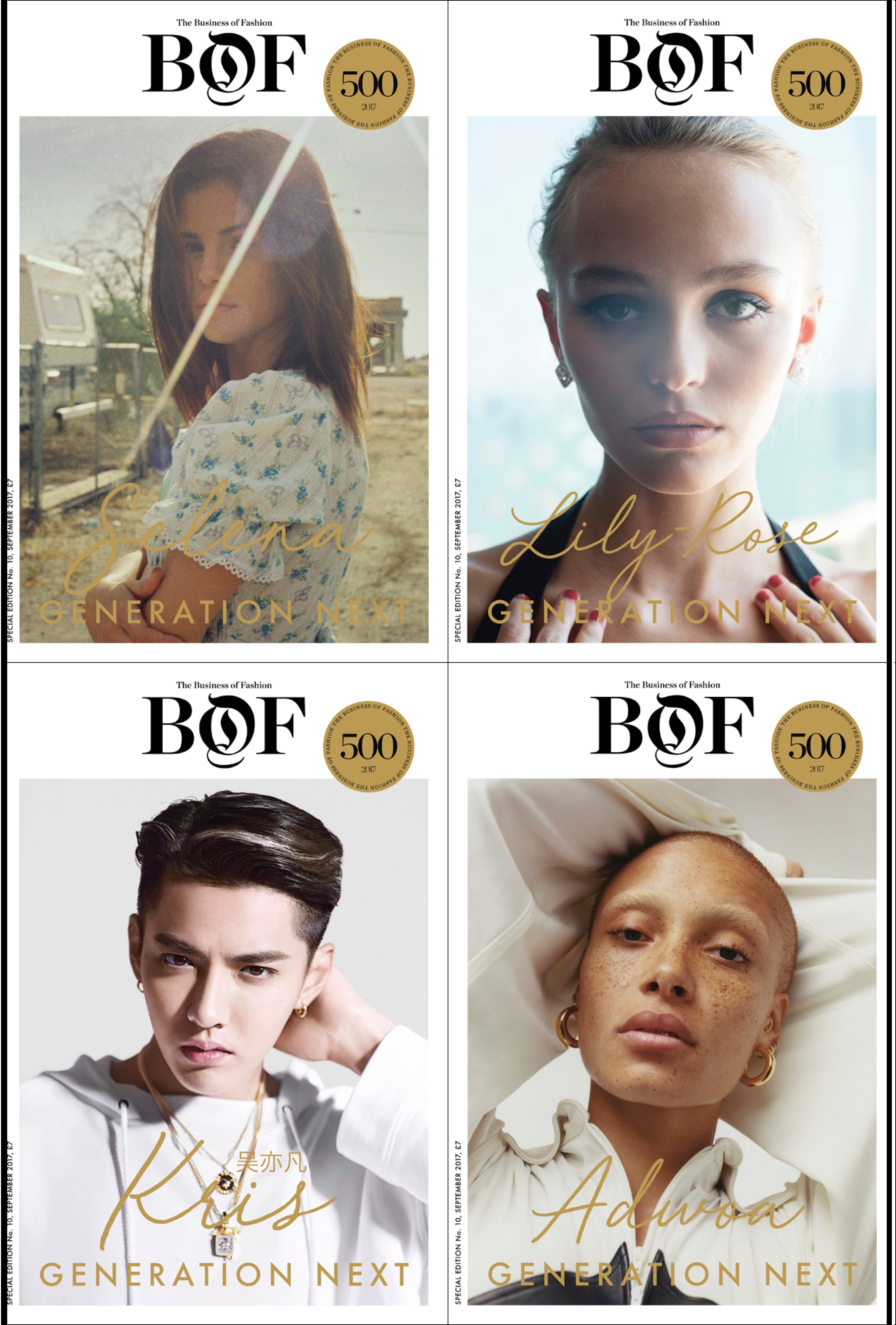 Clockwise, from top left: Selena Gomez, Lily-Rose Depp, Adwoa Aboah, Kris Wu