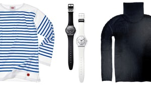 MoMA collaboration pieces L-R: Armor-Lux shirt, Swatch watches, Issey Miyake turtleneck | Source: Courtesy