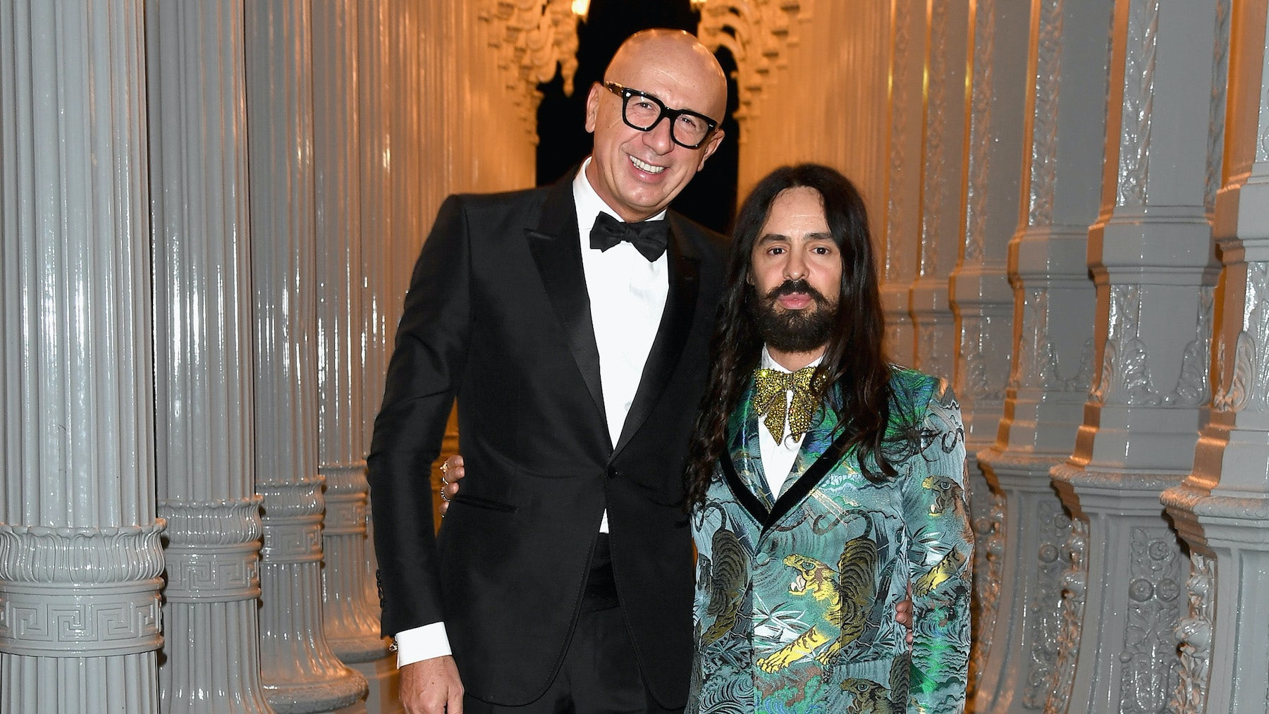 Gucci chief executive Marco Bizzarri with Gucci creative director Alessandro Michele at the LACMA Art + Film Gala 2016 | Source: Getty Images
