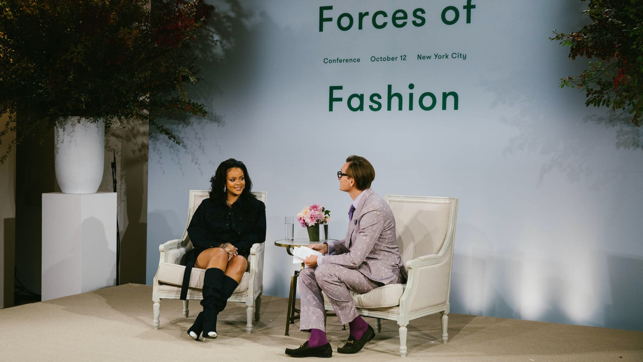 Rihanna and Vogue's Hamish Bowles at 'Forces of Fashion' | Source: Corey Tenold for Vogue