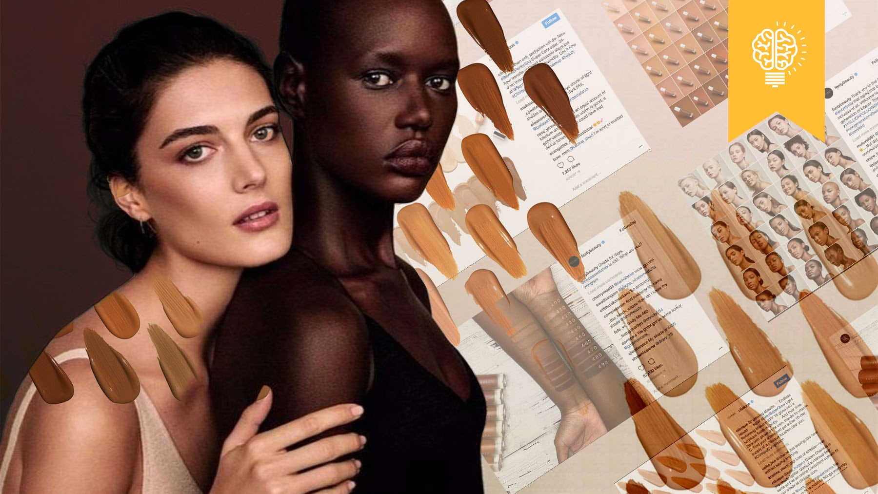 Cover FX's Nude is Not Beige campaign, and Instagram images from Clinique, Fenty Beauty, Estée Lauder | Illustration by Nerea Verdejo Blanco for BoF