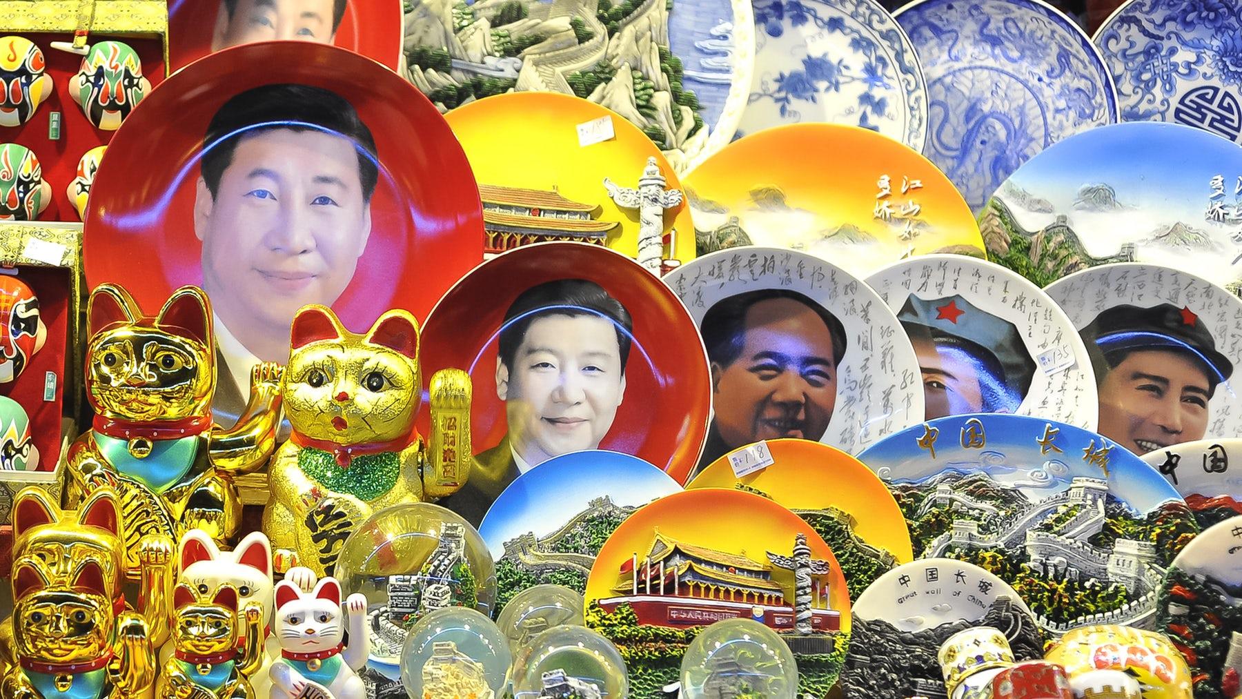 A souvenir stall at a Beijing night market selling Xi Jinping memorabilia |  Source: Shutterstock