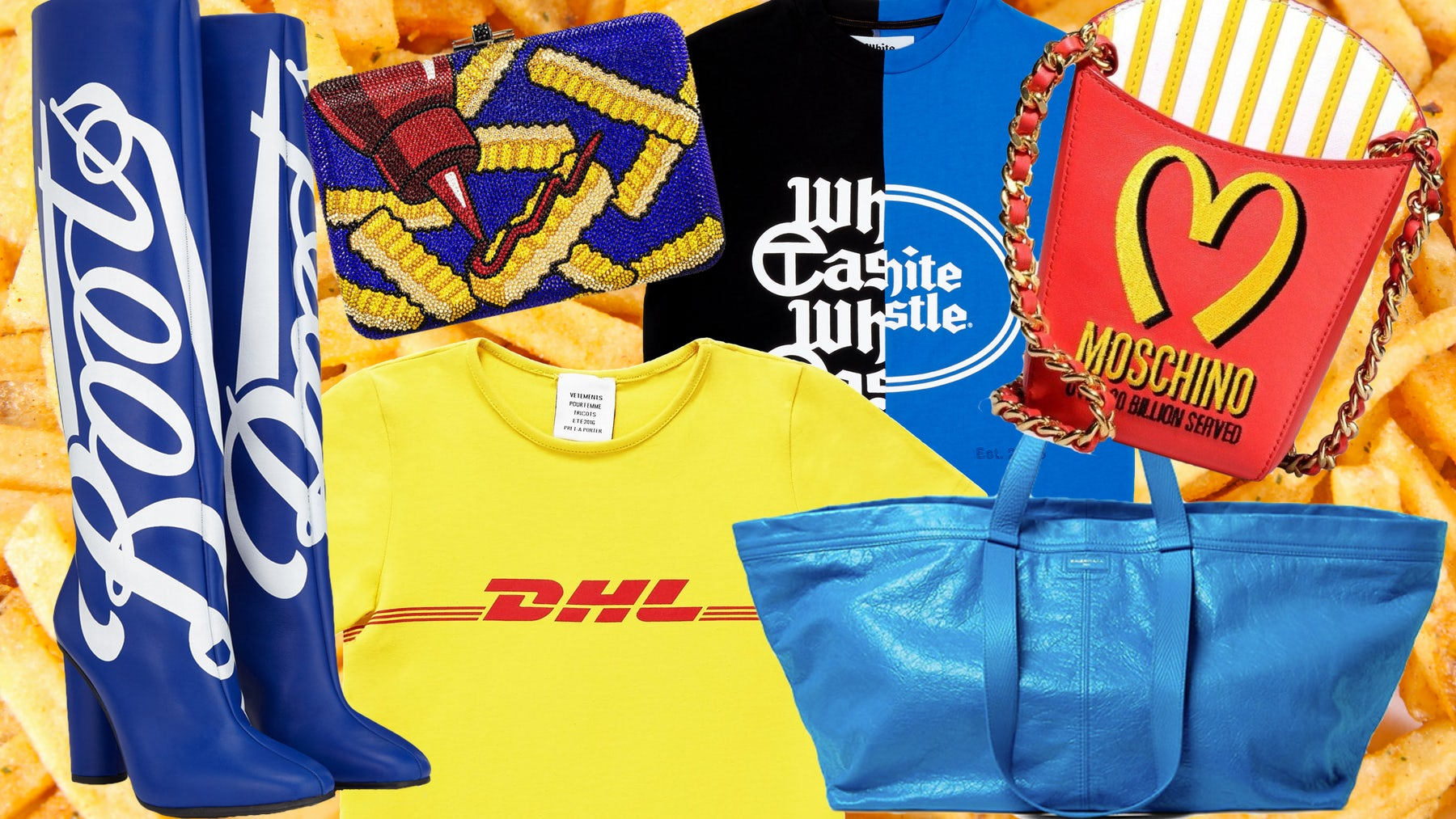 Left to right: Anya Hindmarch 'Boots' boots, Judith Leiber clutch, Vetements 'DHL' t-shirt, Telfar 'White Castle' t-shirt, Moschino purse, Balenciaga tote | Collage: Victoria Berezhna