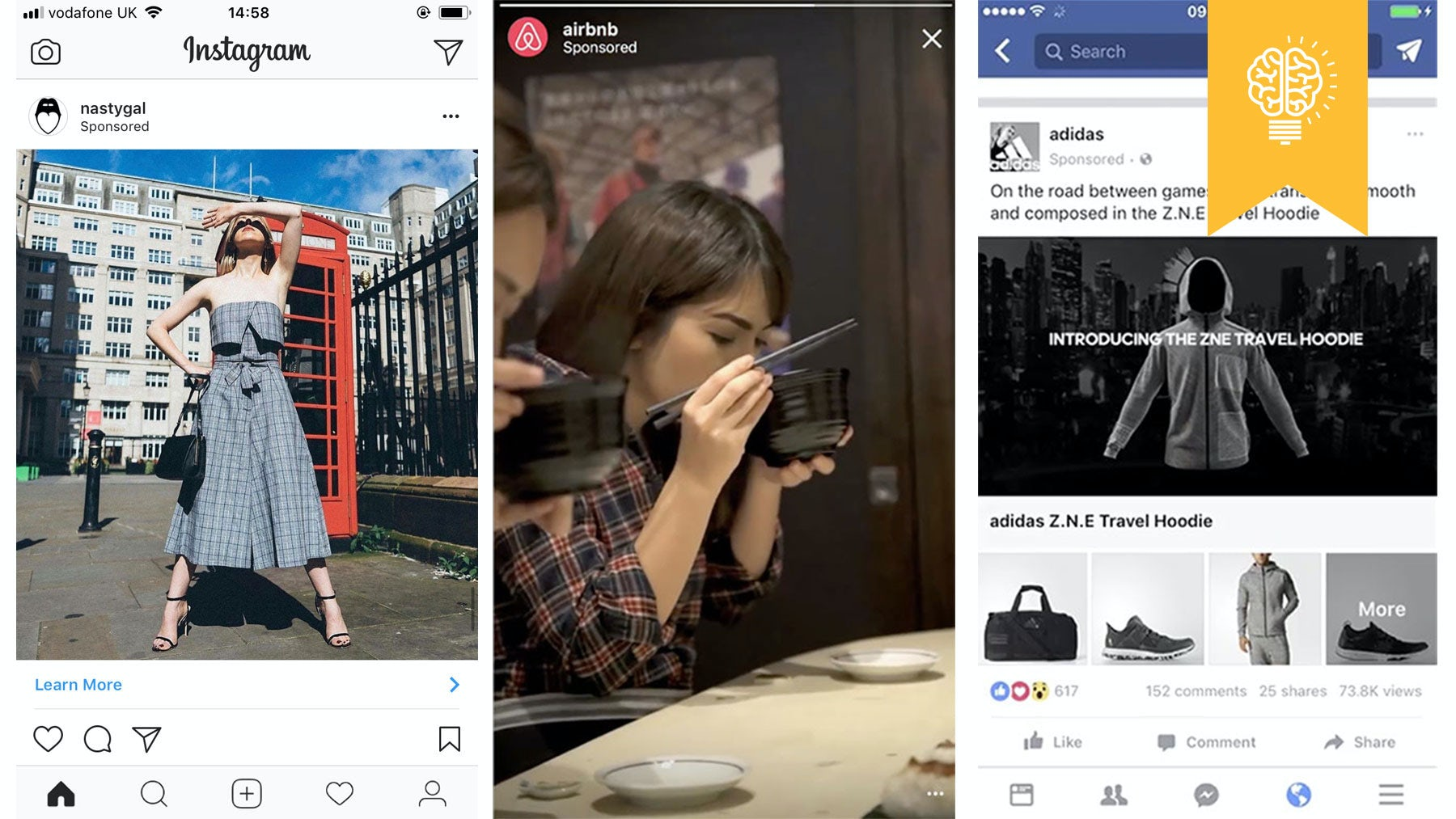 An Instagram feed advert, an Instagram Stories advert, and a Facebook feed advert | Sources L-R: Instagram, Instagram, Facebook.