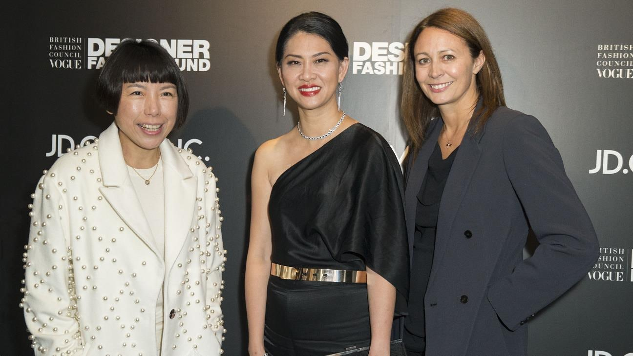 Angelica Cheung, Xia Ding & Caroline Rush at the BFC/Vogue Designer Fashion Fund launch sponsored by JD.com | Source: Courtesy
