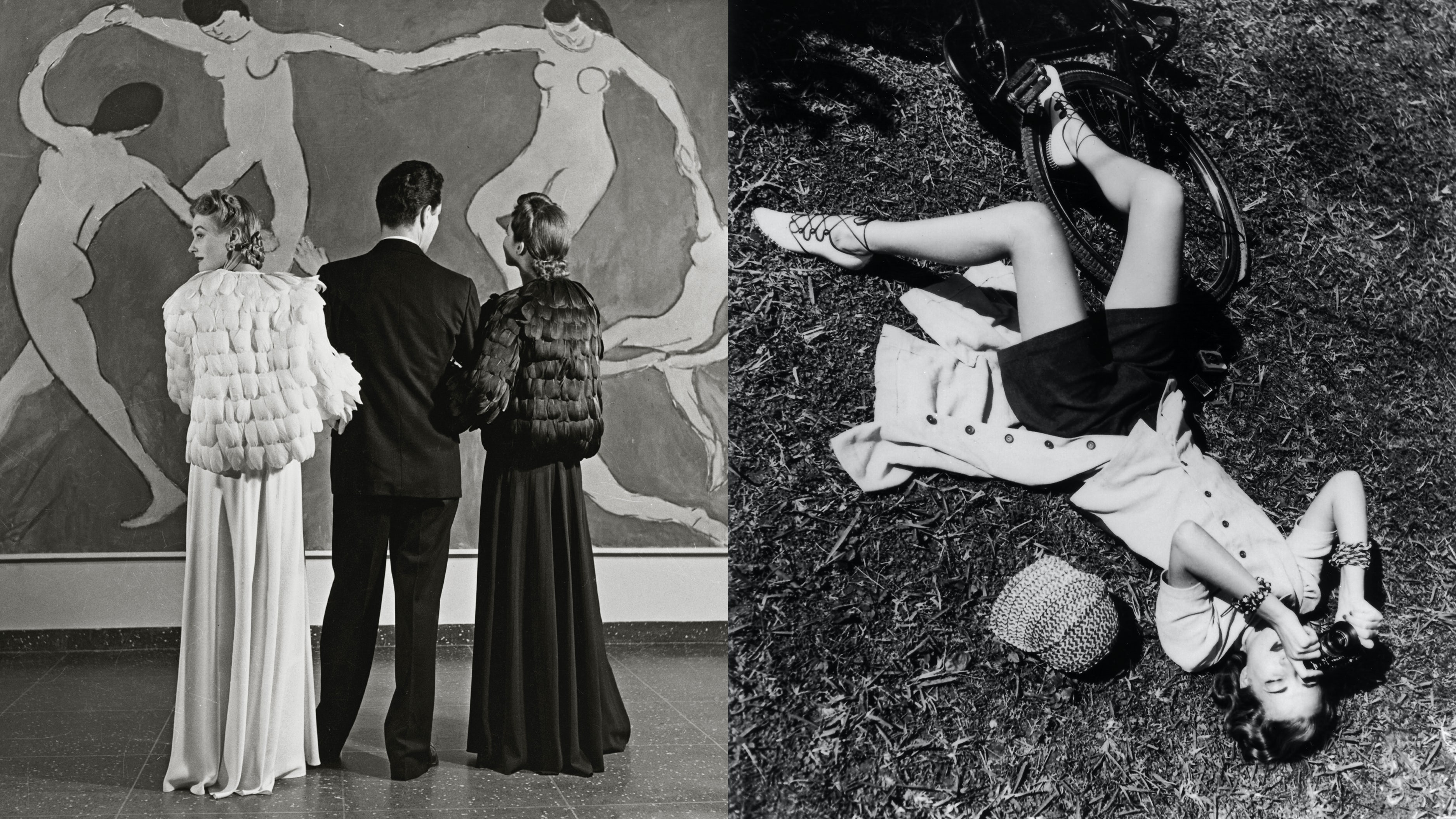 Left: Looking at Matisse, Museum of Modern Art, 1939. Right: Liz Gibbons as Photographer, 1938. | Photographs by Louise Dahl-Wolfe | Source: Courtesy of Collection Staley Wise Galley. ©1989 Center for Creative Photography, Arizona Board of Regents.