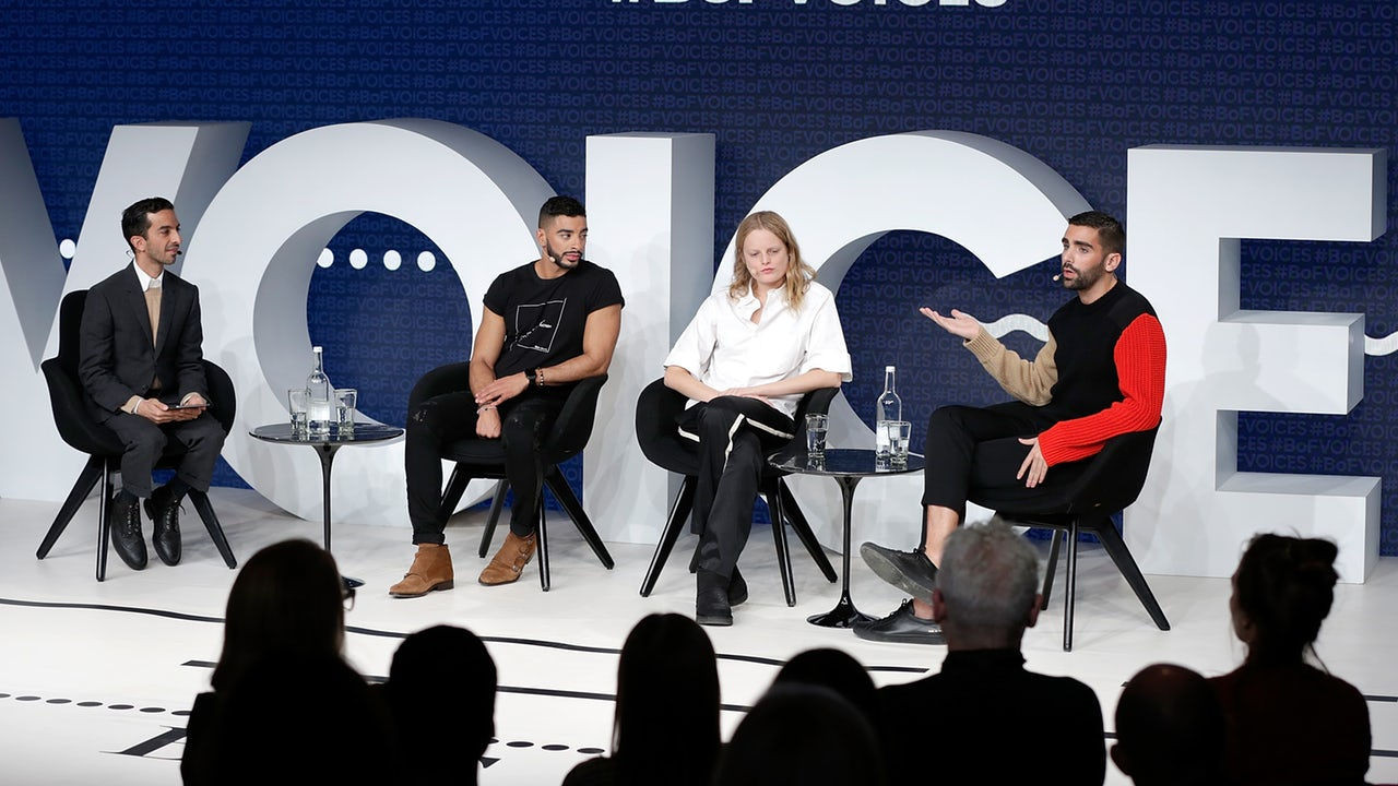 Imran Amed with Laith Ashley, Hanne Gaby Odiele and Phillip Picardie at VOICES 2017 | Source: Getty