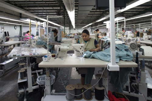 An American Giant cut and sew factory in North Carolina