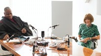 André Leon Talley and Anna Wintour recording the 'Vogue Podcast' | Source: Vogue
