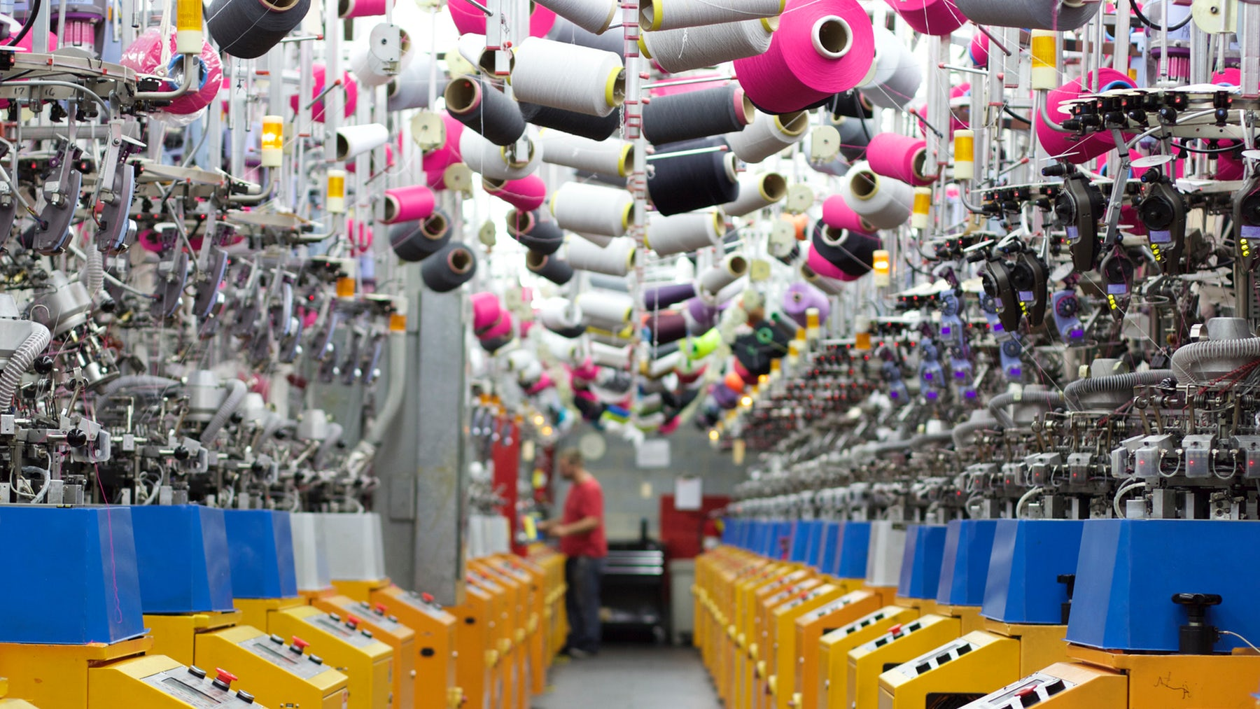 Double-cylinder jacquard knitting machines at Harris & Covington's hosiery factory in North Carolina | Source: Courtesy