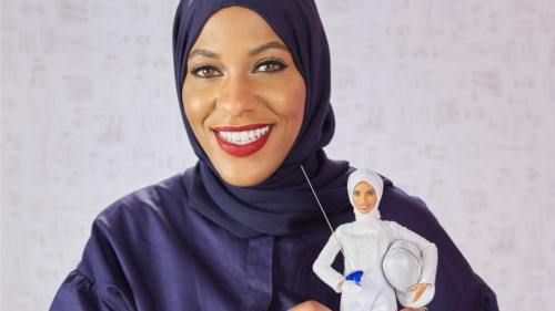 American fencer Ibtihaj Muhammad with the latest Barbie doll