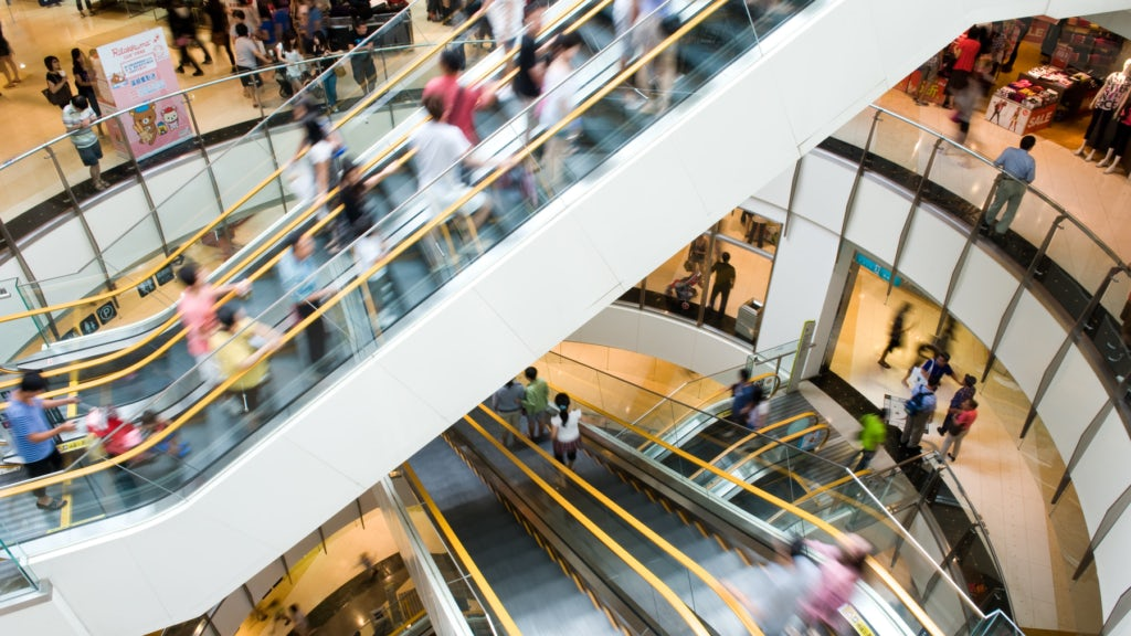 Crowds at a shopping mall