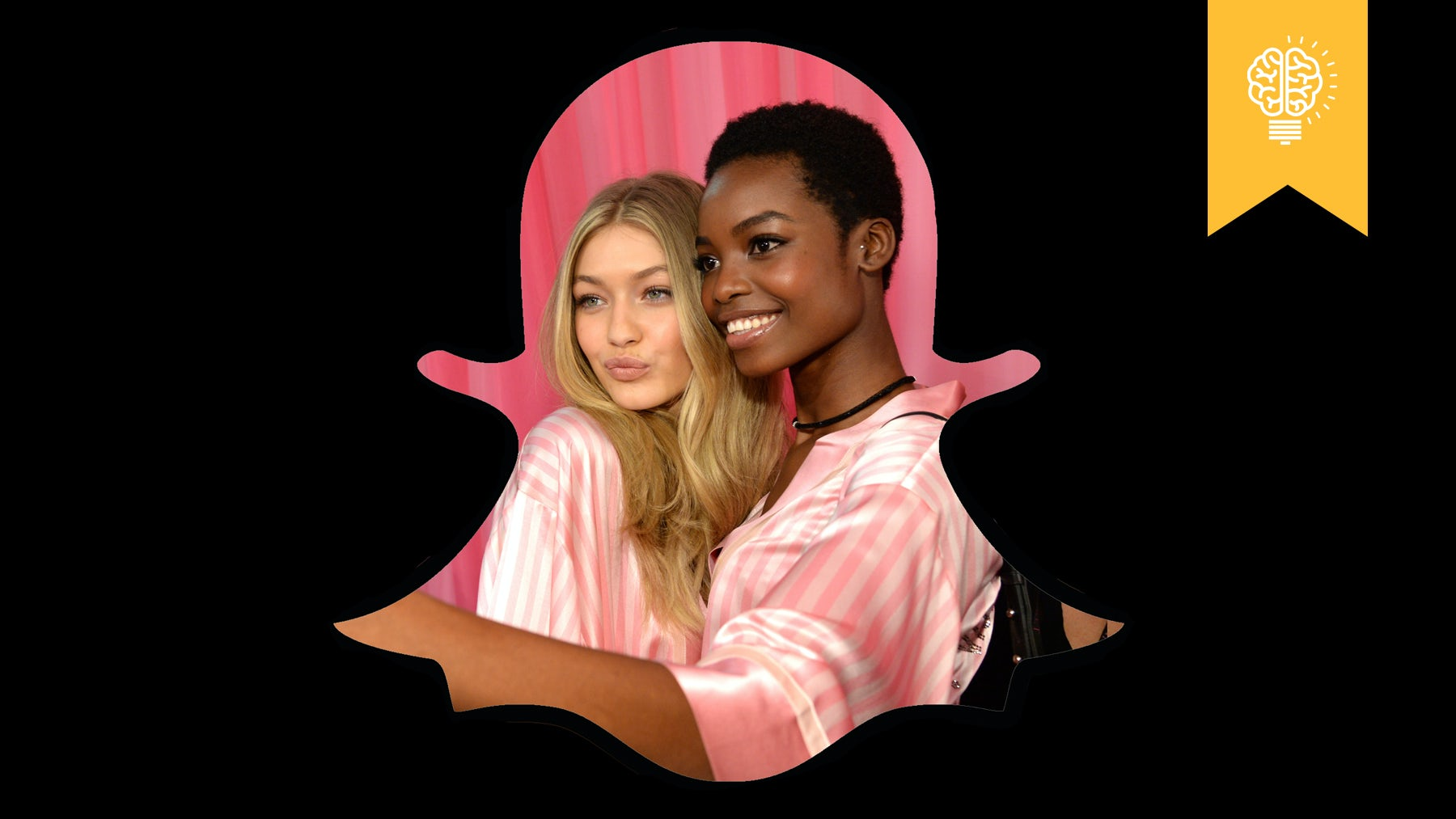 Gigi Hadid and Maria Borges take a selfie backstage at the 2016 Victoria's Secret Fashion Show | Source: Kevin Mazur/WireImage